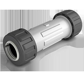 Cod: ACO102 Acople de compresion profesional DUKE de 1/2 - 3/4  largo traba mecanica